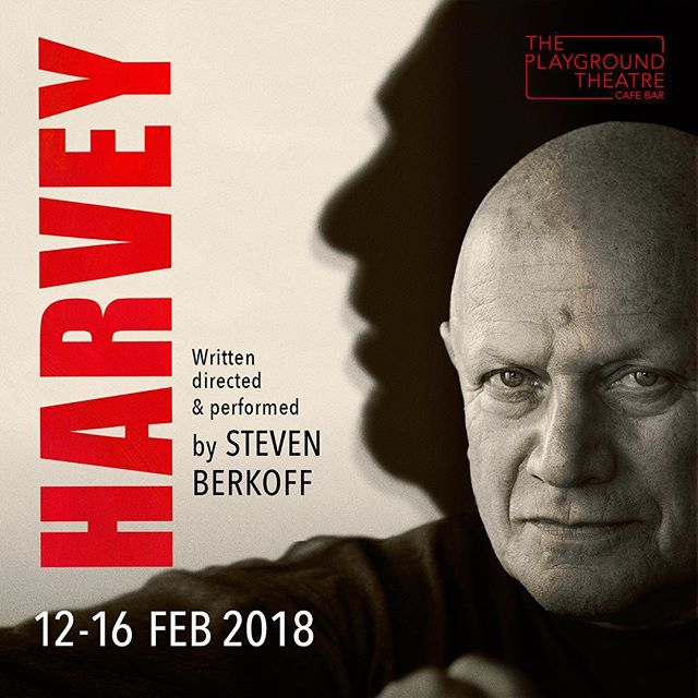 """Tickets available now for """"Harvey"""", a new play written, directed and performed by @stevenberkoff_  at the @theplaygroundtheatre . This is not a love story..."""