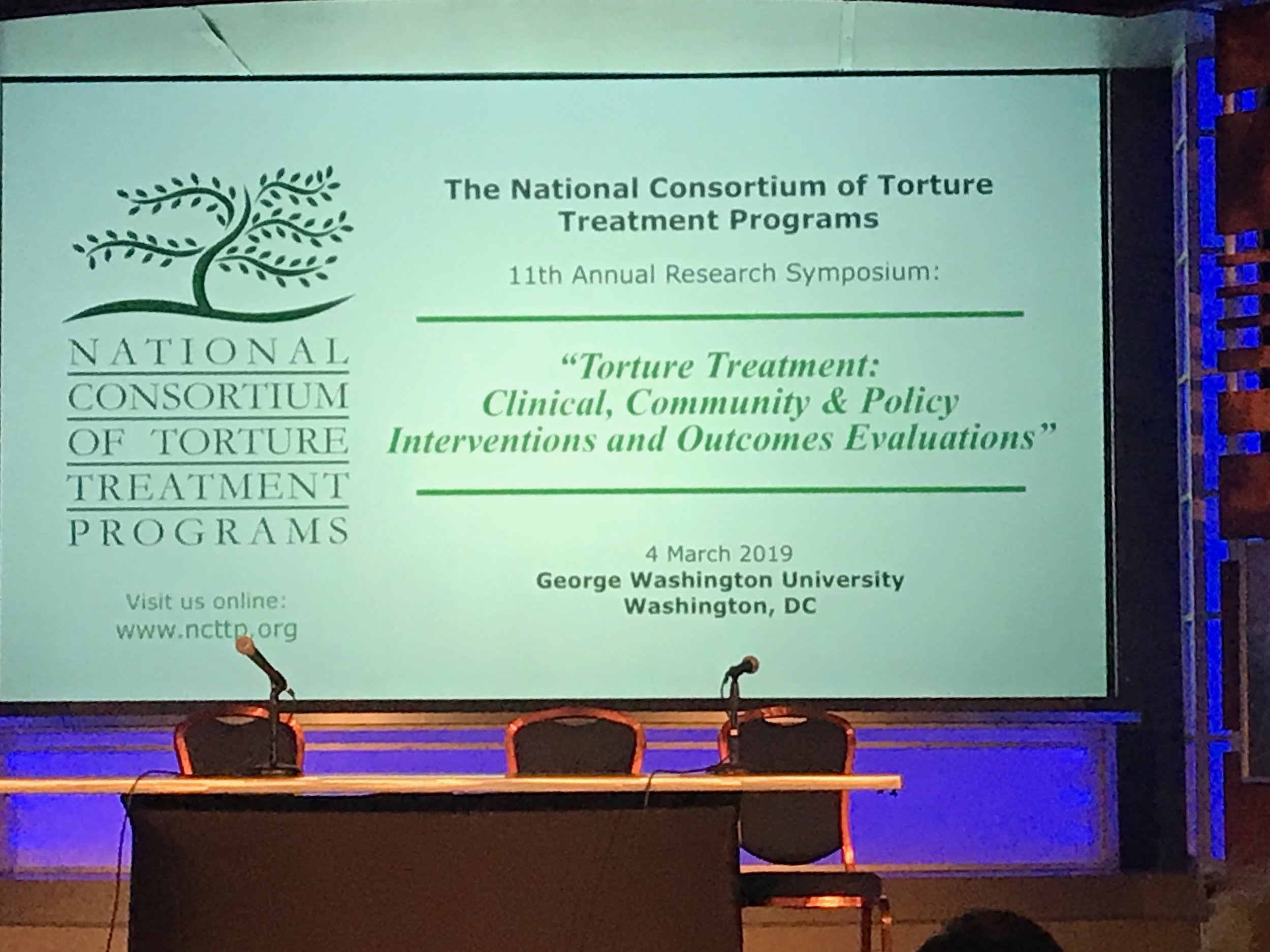 The National Consortium of Torture Treatment Programs 11th Annual Research Symposium  was held at George Washington University .