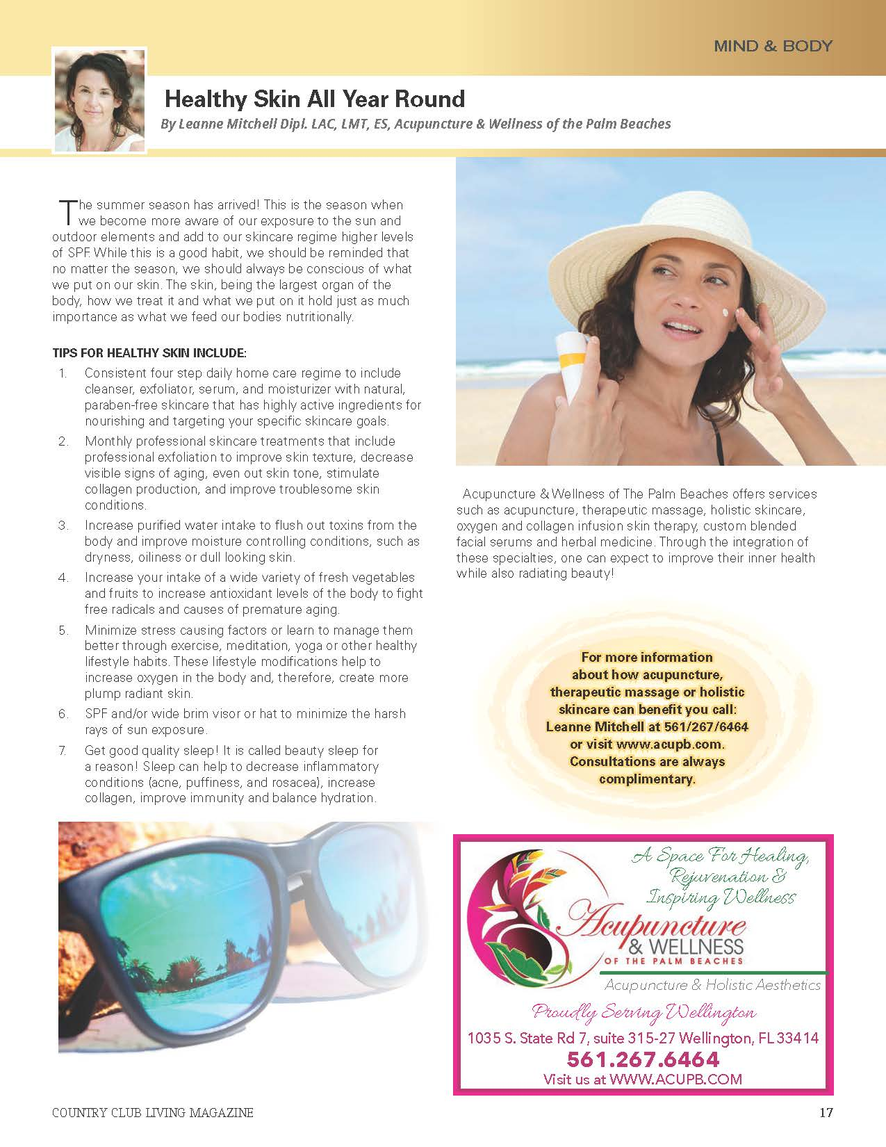 acupuncture and wellness of the palm beaches- healthy skin all year round