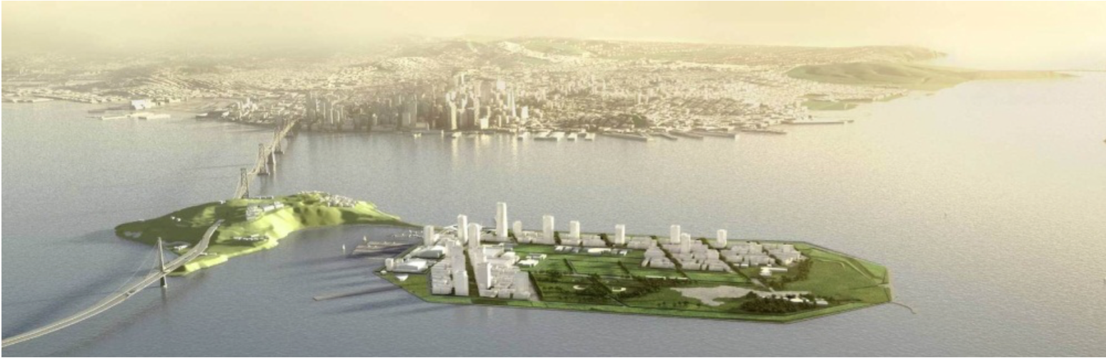 Digital illustration of proposed Treasure Island Development Project (City and County of SF 2000-2013)