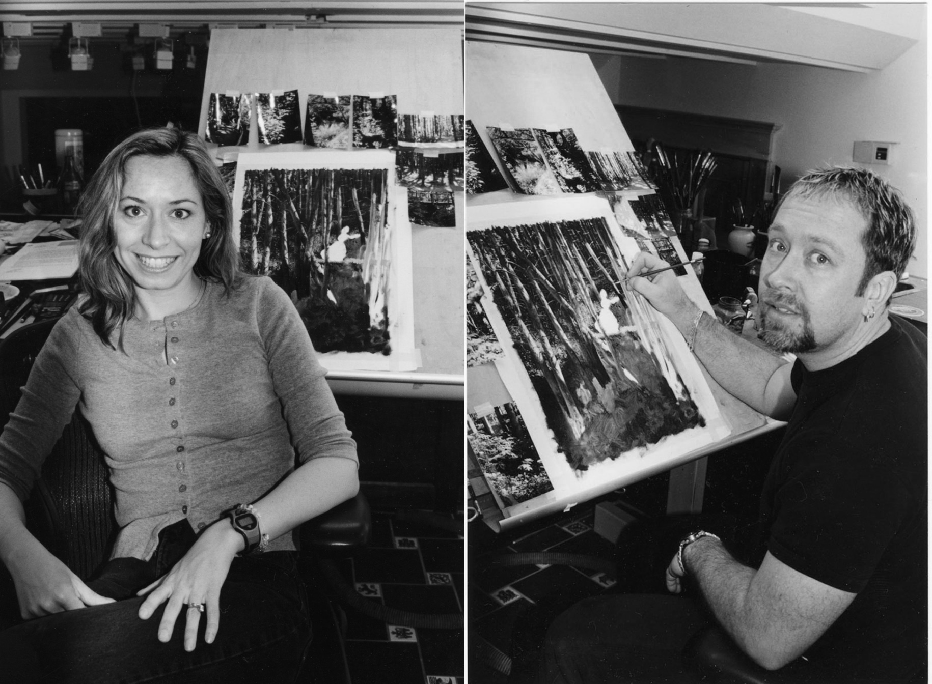 Rick and Laura in the studio