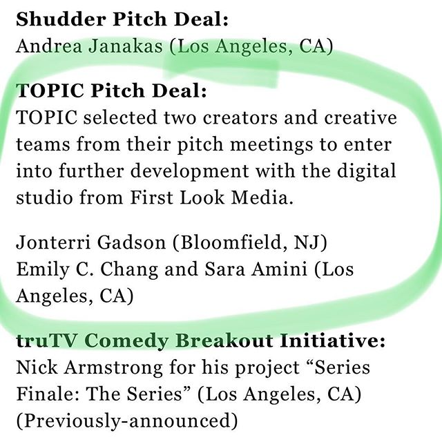 Woohoo! So excited to announce that MLC co-creators @therealemilyc & @_saraamini won the Topic development deal award at @nytvf to develop a new show! #womenincomedy #womenofcolor #setlife #actorslife #actress #womeninfilm #webseries #webcomedy