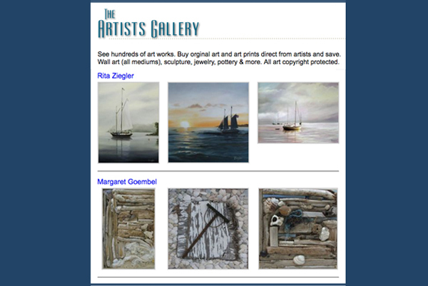 Artists Gallery Online Exhibits for Members only.