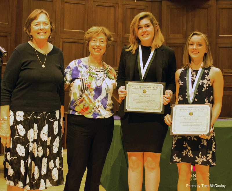 From Left to Right: 2017-2018 Vero Beach Art Club President Anne Malsbary, 2018-2019 President Rosemary Polsky-Newman Scholarship recipients Sage Parker and Madison Torrent