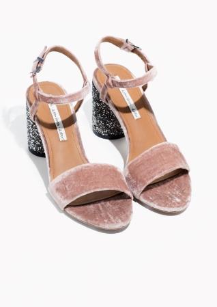 Velvet and Glitter Sandals