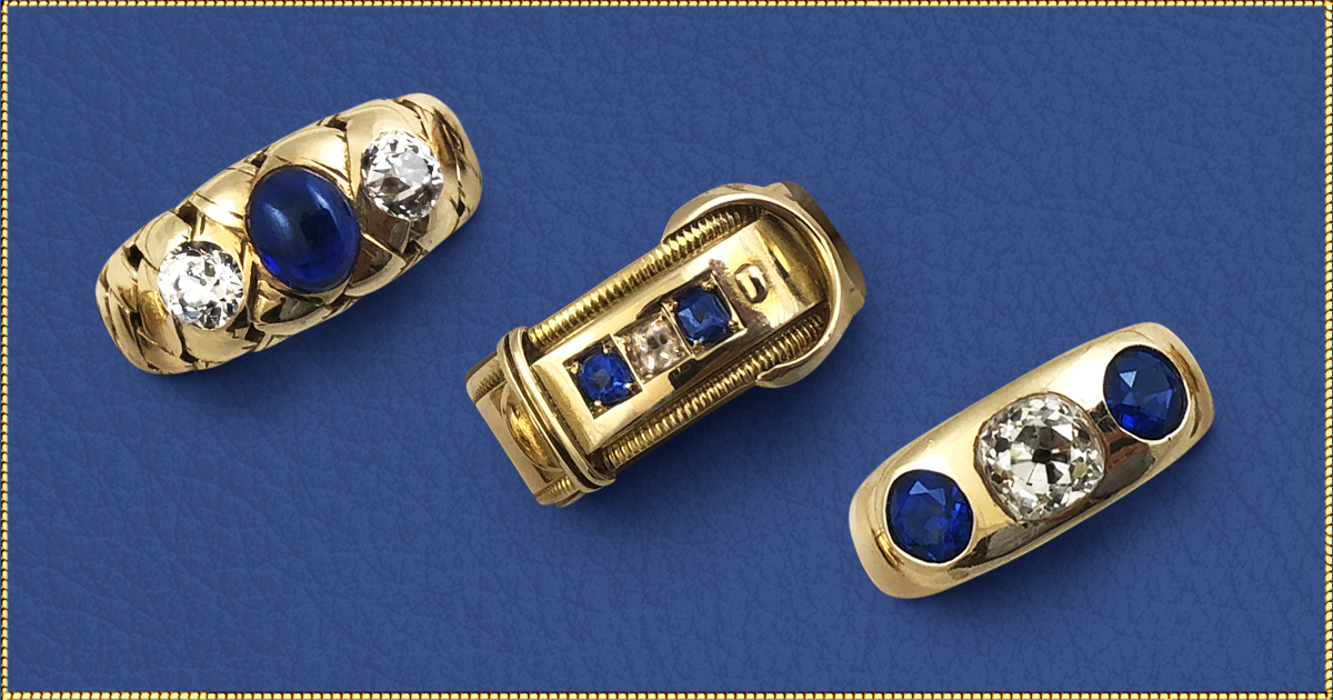 The beautiful blues of sapphires. - Each design is one-of-a-kind. So you can choose your favorite as an intriguing expression of your individual style.September's birthstone was the gem of royalty and divinity because of its celestial hues. Symbolizes wisdom and purity. The yellow gold settings of these three rings are the perfect complement for these beautiful blues.Left: Cabochon Sapphires and diamond with weave design. Setting-14kt yellow gold. Circa 1890's. $3,800Center: Sapphire and diamond buckle design ring. Setting-15kt yellow gold. Circa 1880's. $1,450Right: Sapphire and Old Mine Cut diamonds. Setting-14kt yellow gold. Circa 1900's. $5,800