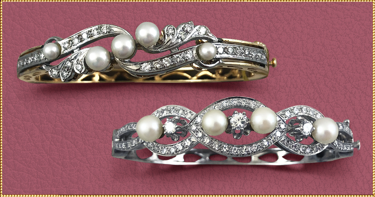 When only an elegant choice will do. - Some occasions just call for really dressing up. And these bracelets add the perfect elegant touch to that long gown you'll be wearing for special events.Top: Pearls and diamonds on a 14 karat gold setting. $2,500  Lower: Step back into the glitz and glamor of the Brat Pack days when Frank Sinatra was the voice of the 1950's with this spectacular bracelet of diamonds and pearls. 2.46 total carats in diamonds. $4,800