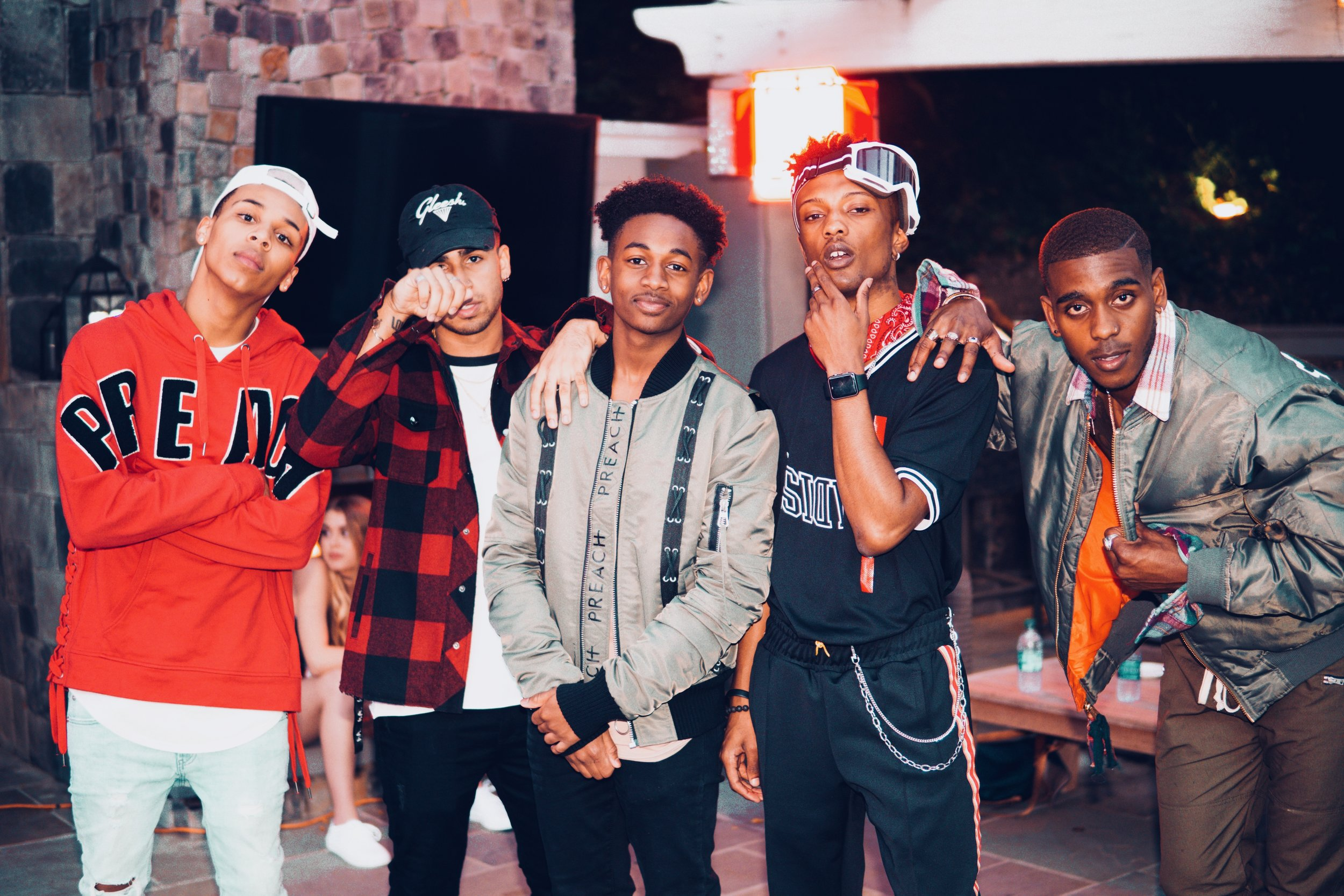 Leek, Chris, Leon, Tre, T on set for the Rock music video.