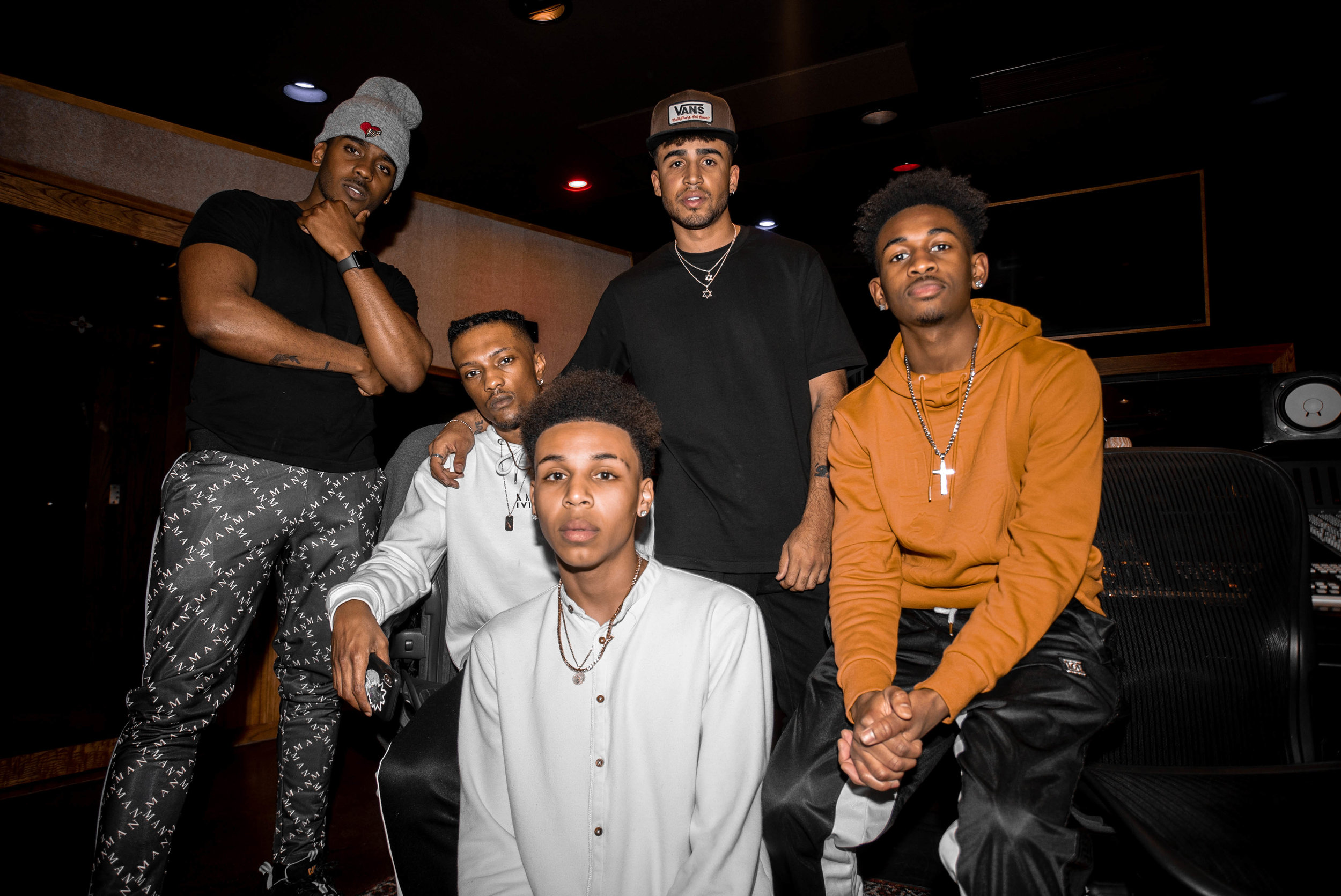 T, Tre', Malik, Chris, and Lee in a studio session in Los Angeles.