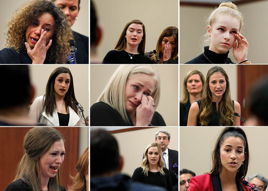 Just a few of the 160 women who spoke out during the Victim Impact Statement portion of former USA Gymnastics and Michigan State University sports doctor Larry Nassar's sentencing in January 2018. Nassar was sentenced to 40 to 175 years in prison after over 150 women and girls said he sexually abused them under the premise of providing medical treatment as part of their athletic training.