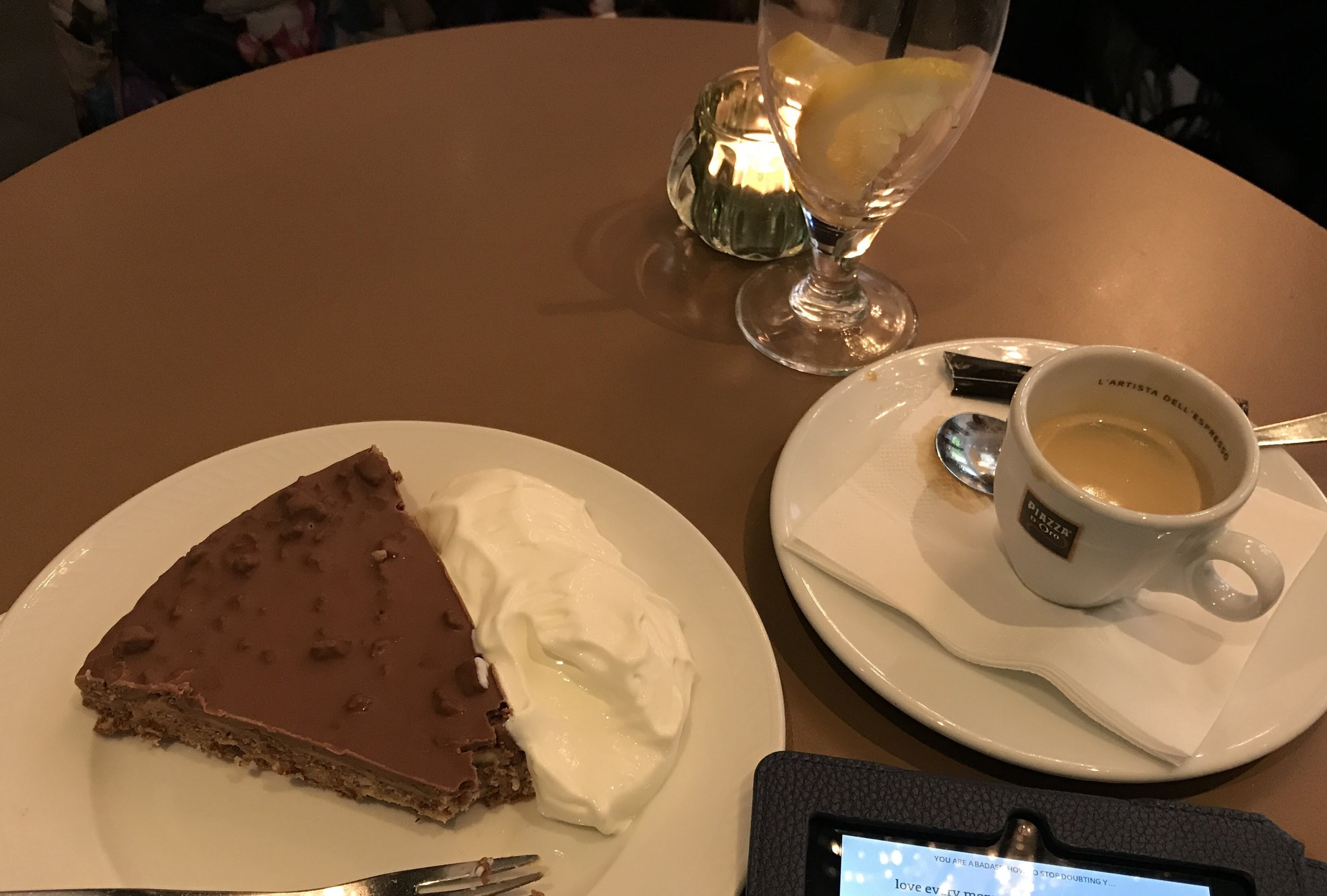 Espresso, my Kindle, and a mega slice of  Daim -bar flavored cake with cream. That cake was delicious!
