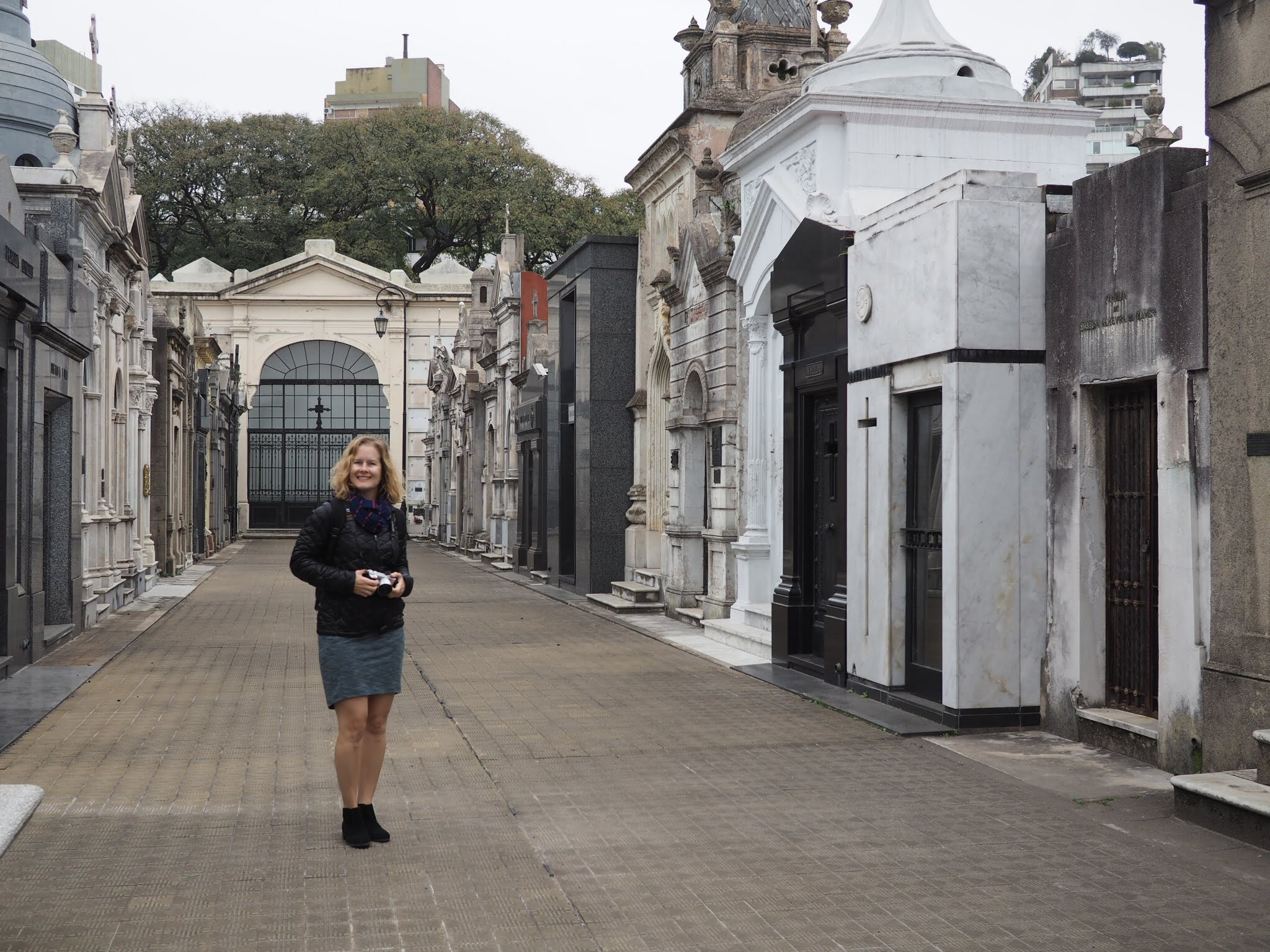 Me at the Recoleta cemetery, later, I'd need to buy tights because I was freezing.