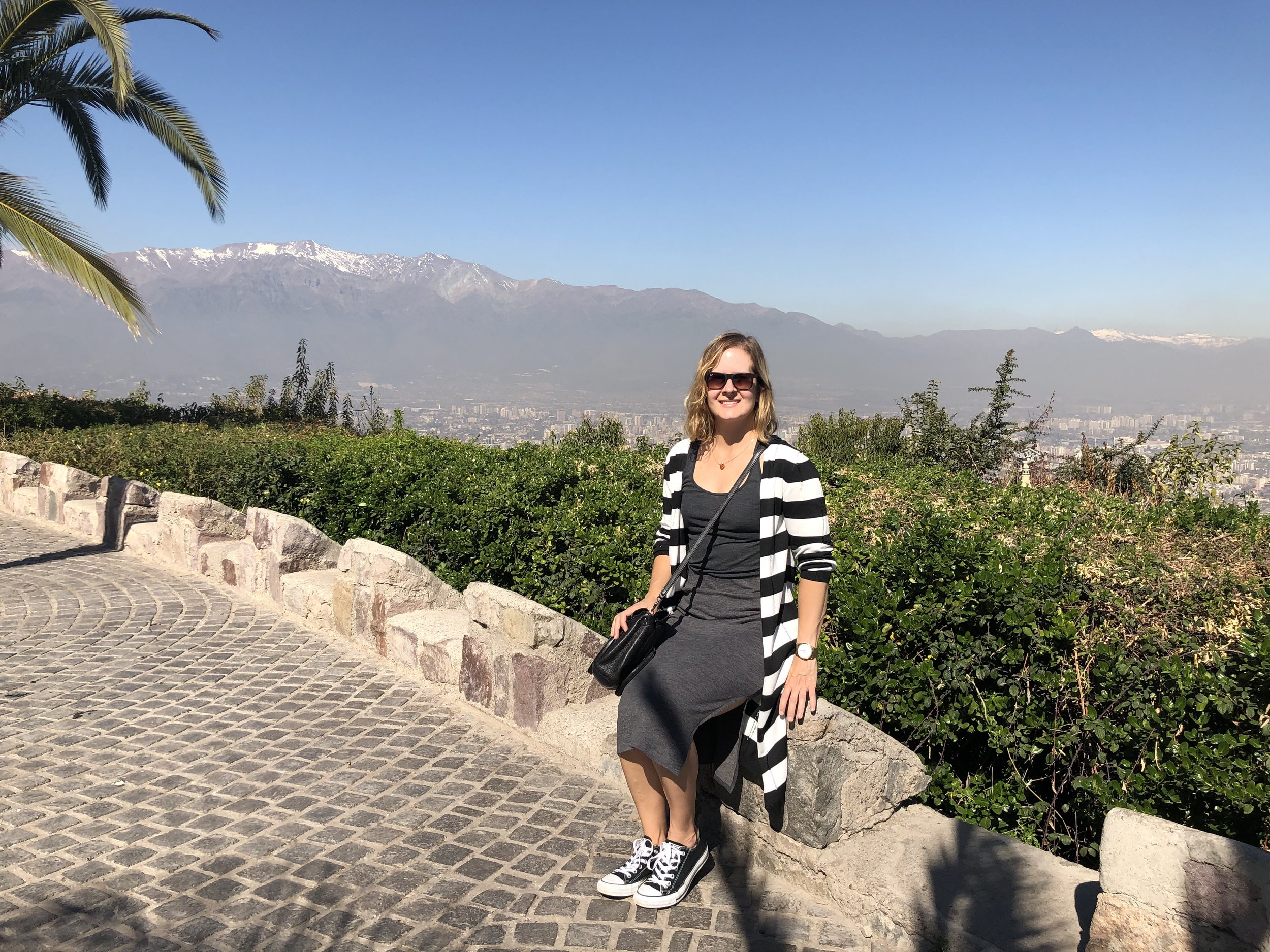 At the top of the cerro (hill) that overlooks Santiago and towards the Andes.