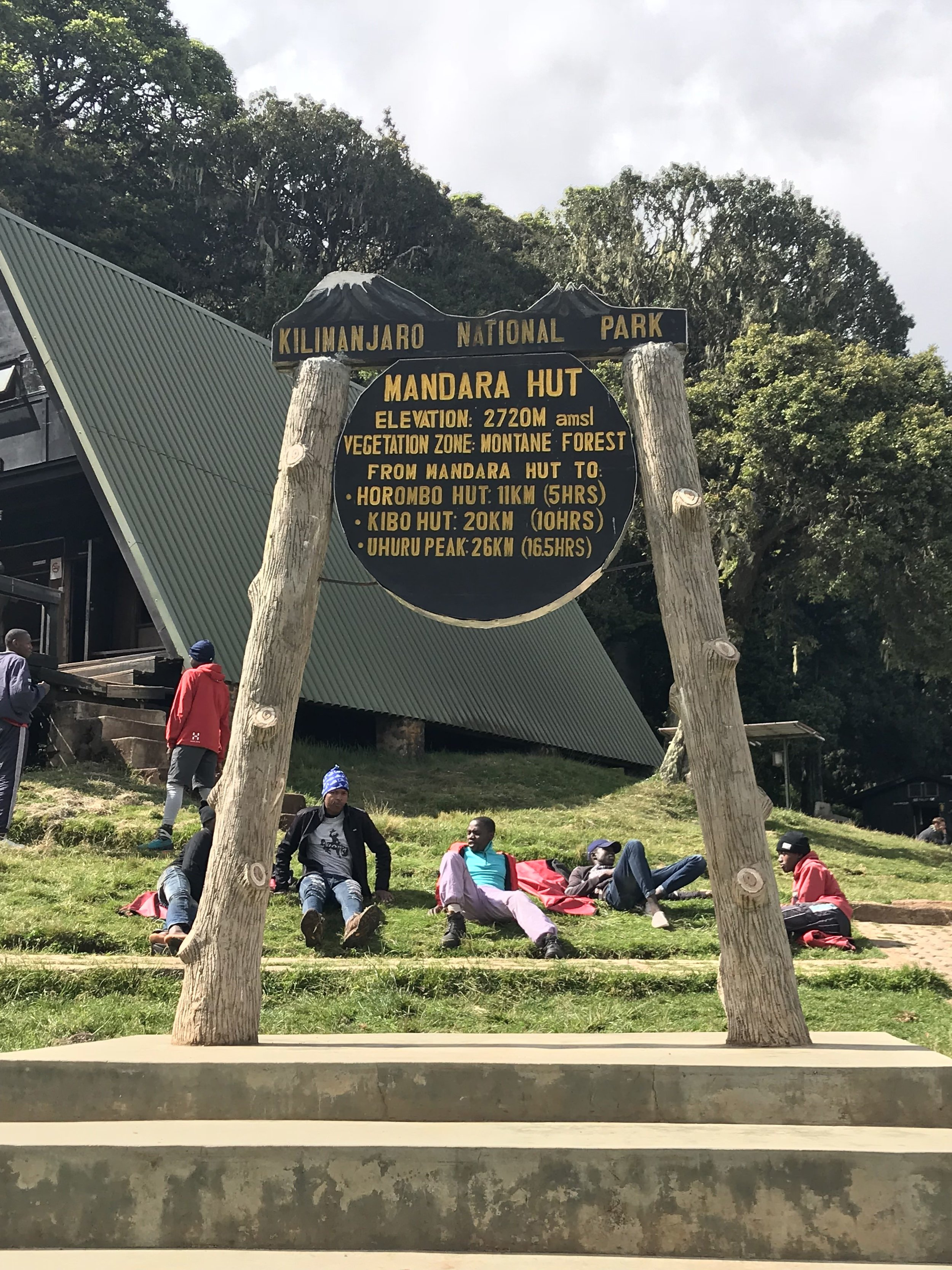 Mandara huts greeting sign, we made it!