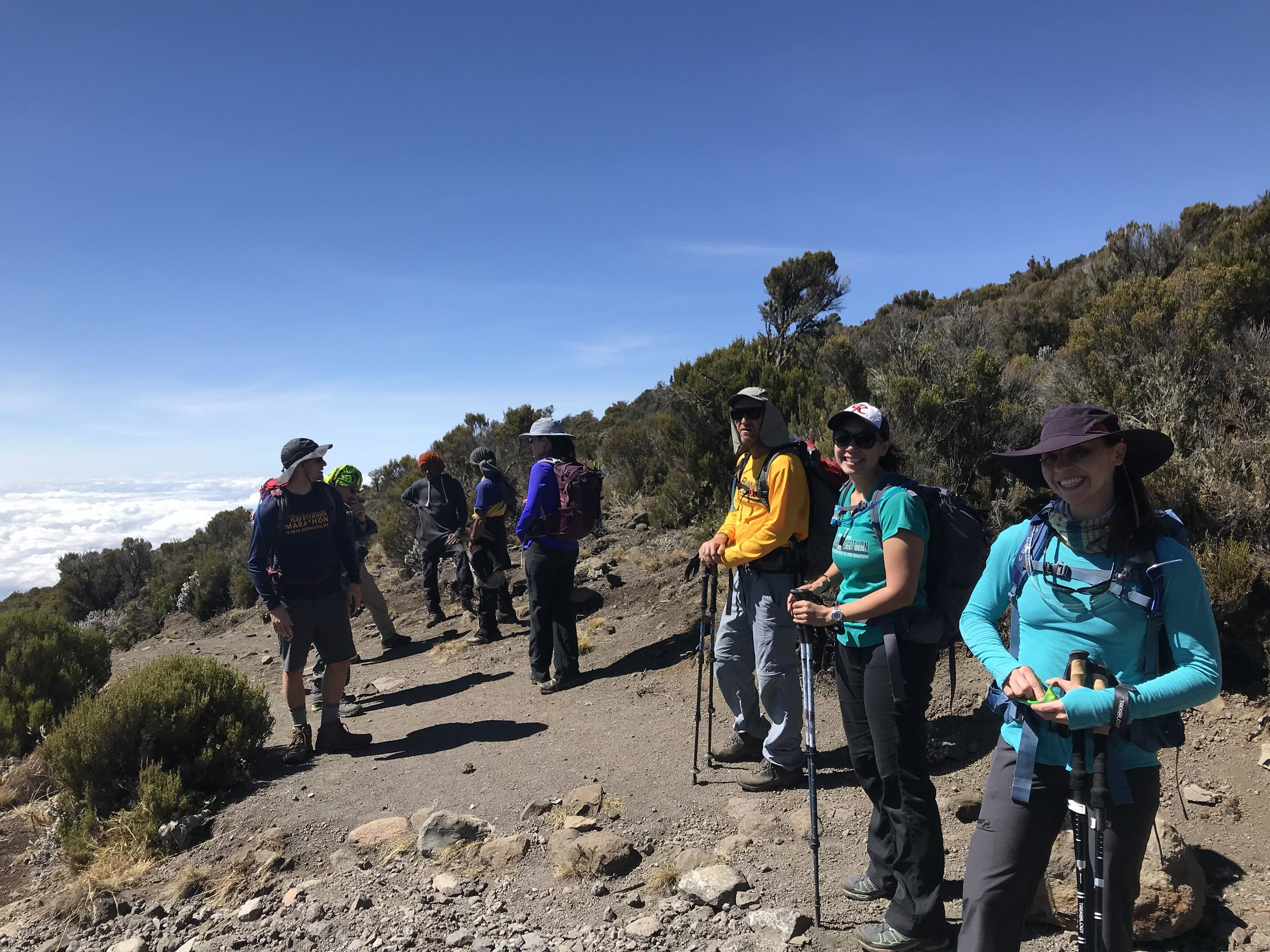 Most of our crew above the clouds on the acclimation hike.