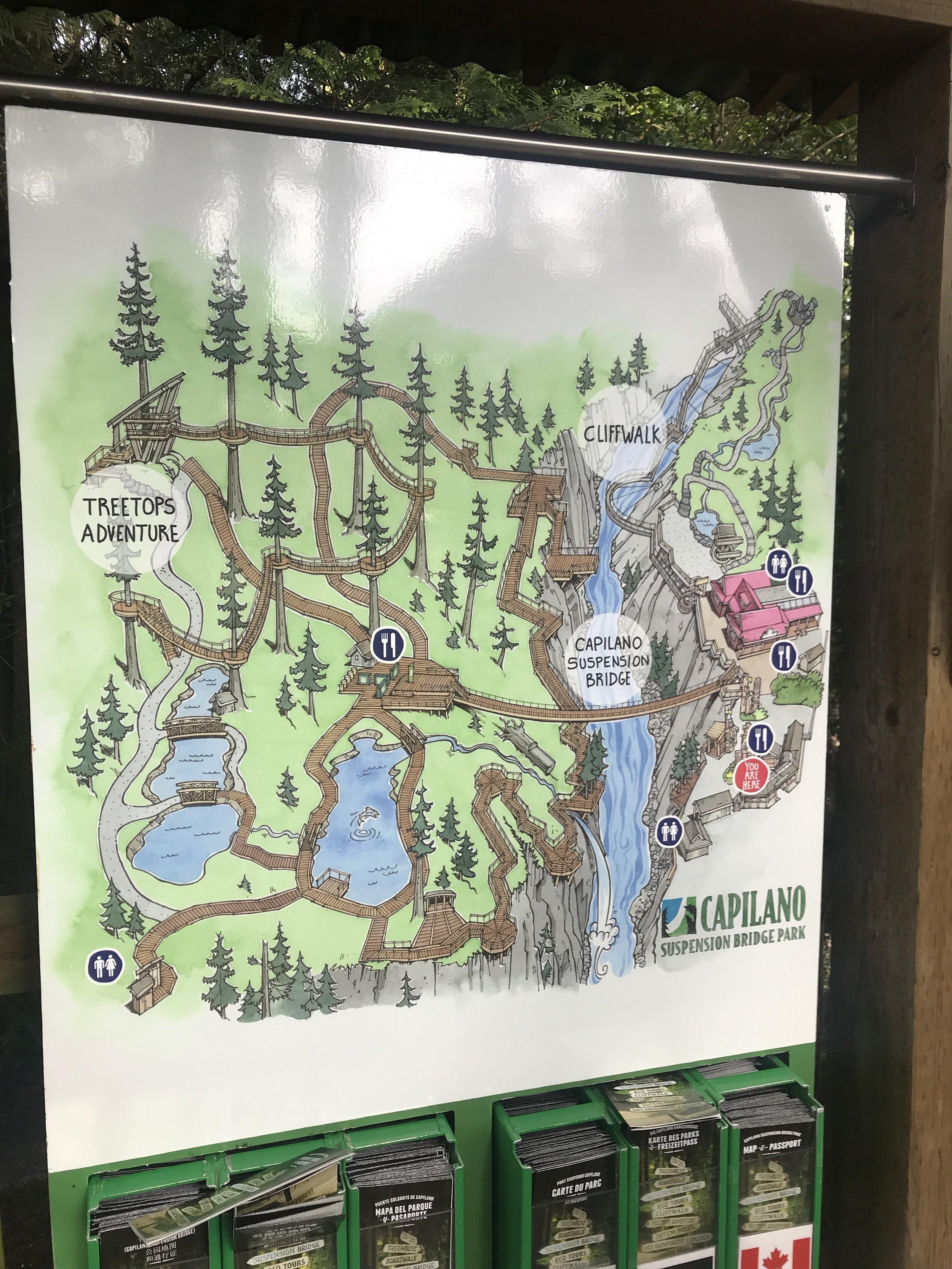 The map of Capilano Suspension Bridge Park.