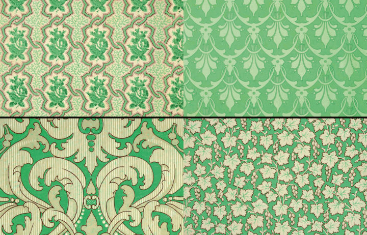 Samples of Victorian wallpaper, poison to the touch. More about this topic can be found in the 2016 book, Bitten by Witch Fever: Wallpaper & Arsenic in the Nineteenth-Century Home.