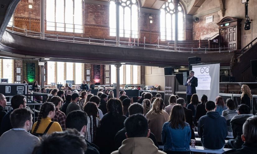 Jeff Smith MP, co-Chair of the All-Party Parliamentary Group on Drug Policy Reform, thanking volunteers for attending a Loop training day, Manchester Albert Hall 2018. Photo Credit: Gary Brown