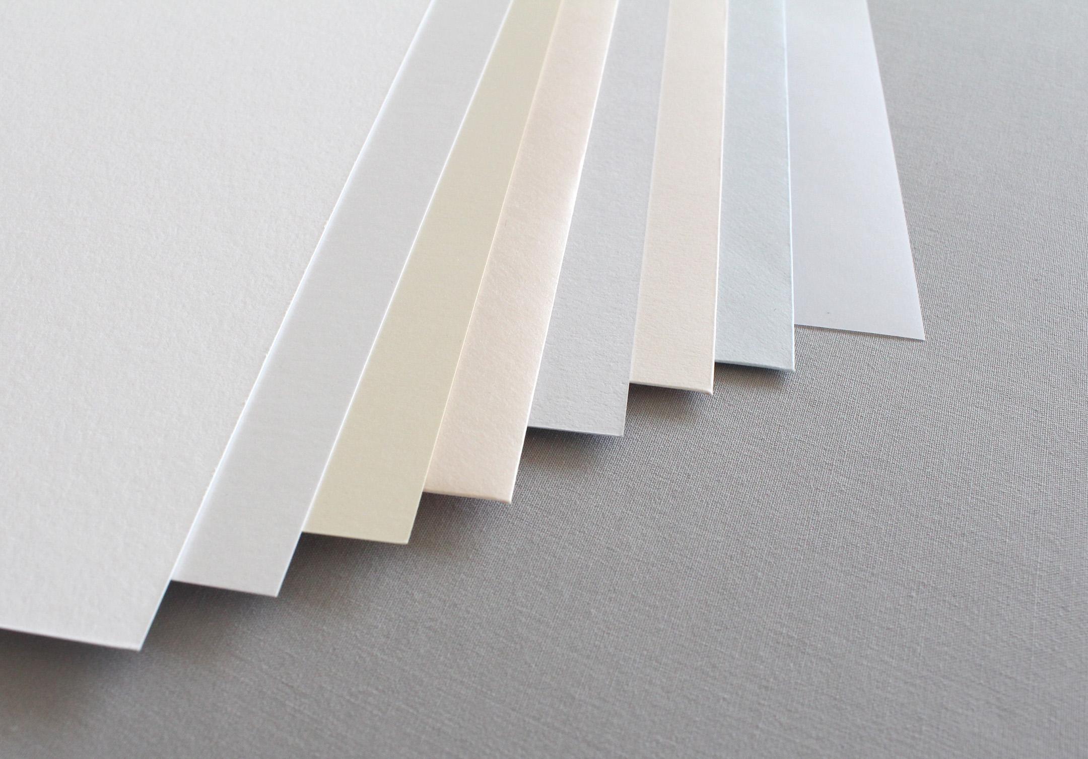 Cotton:  White -  Metallic:  Crystal, Ivory, Coral -  Matte:  Pale Grey, Soft Coral, Pale Blue -  Vellum