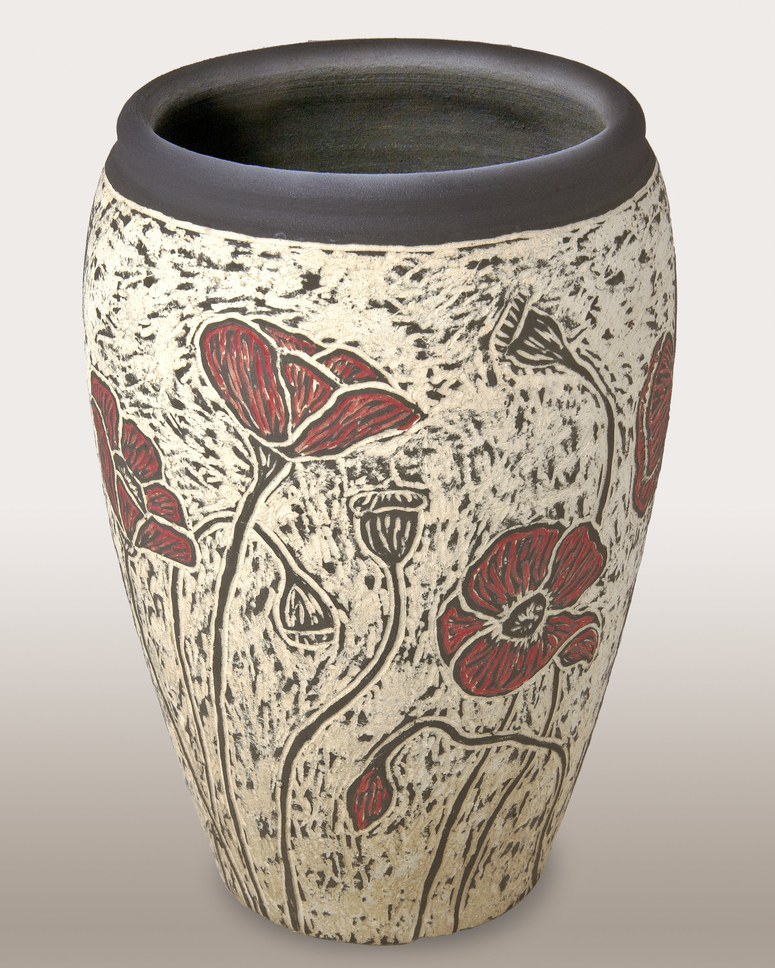 Poppies - Sgraffito Carved