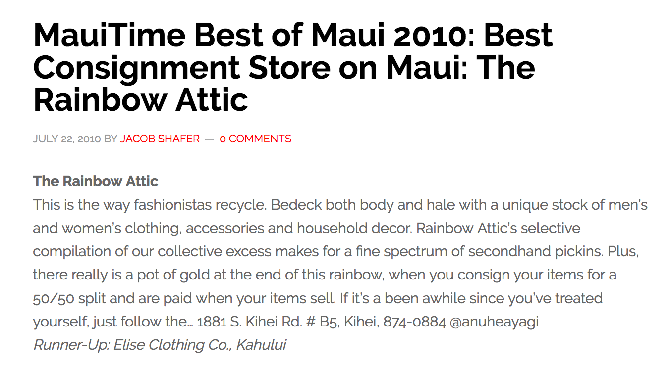 MauiTime Best of Maui 2010: Best Consignment Store on Maui: The Rainbow Attic