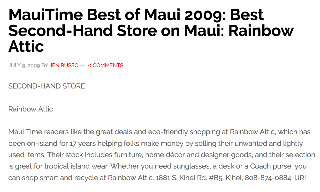 MauiTime Best of Maui 2009: Best Second-Hand Store on Maui: Rainbow Attic