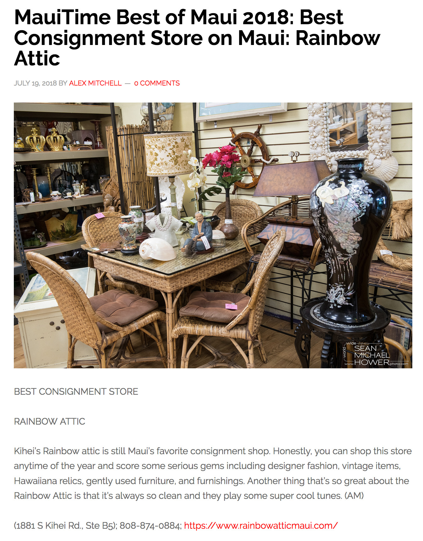 MauiTime Best of Maui 2018: Best Consignment Store on Maui: Rainbow Attic