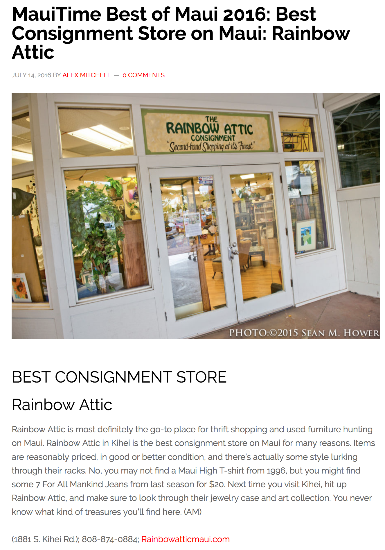 MauiTime Best of Maui 2016: Best Consignment Store on Maui: Rainbow Attic