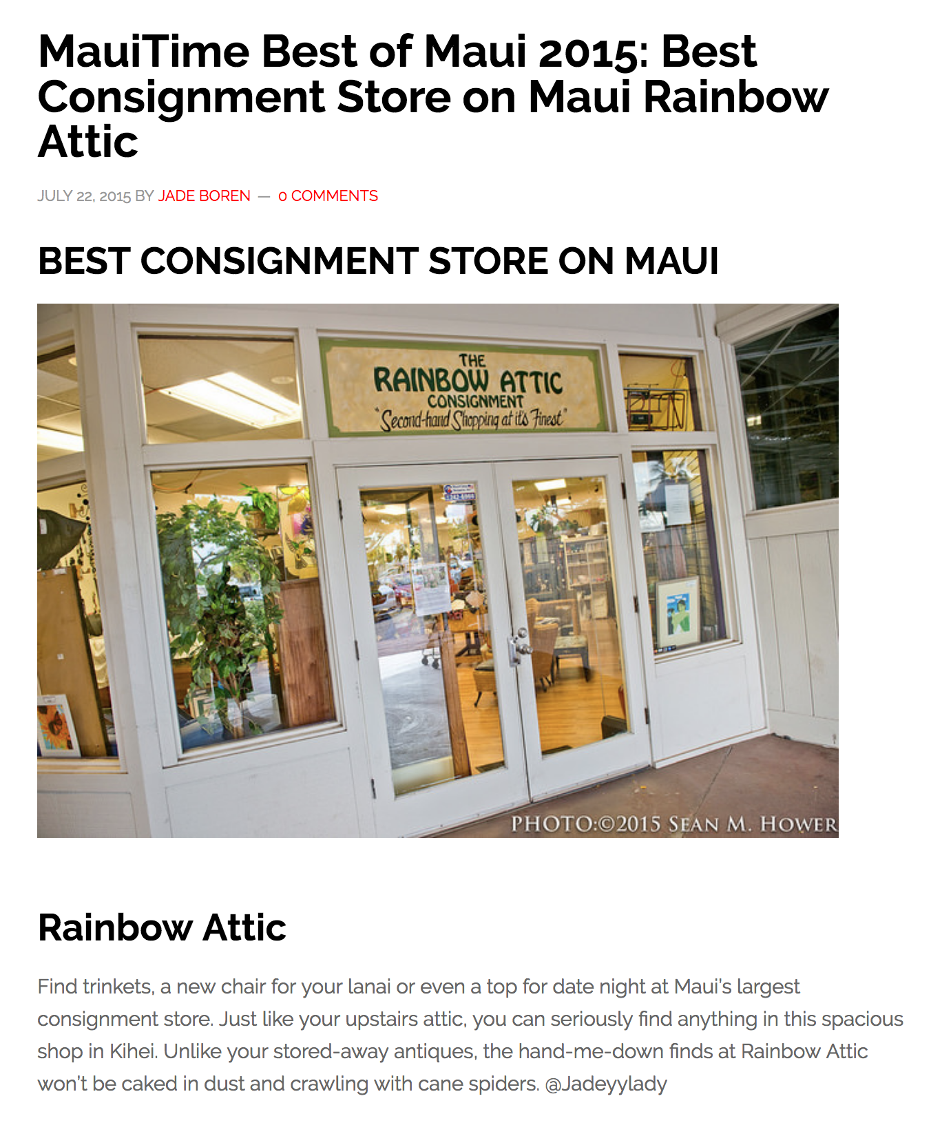 MauiTime Best of Maui 2015: Best Consignment Store on Maui Rainbow Attic