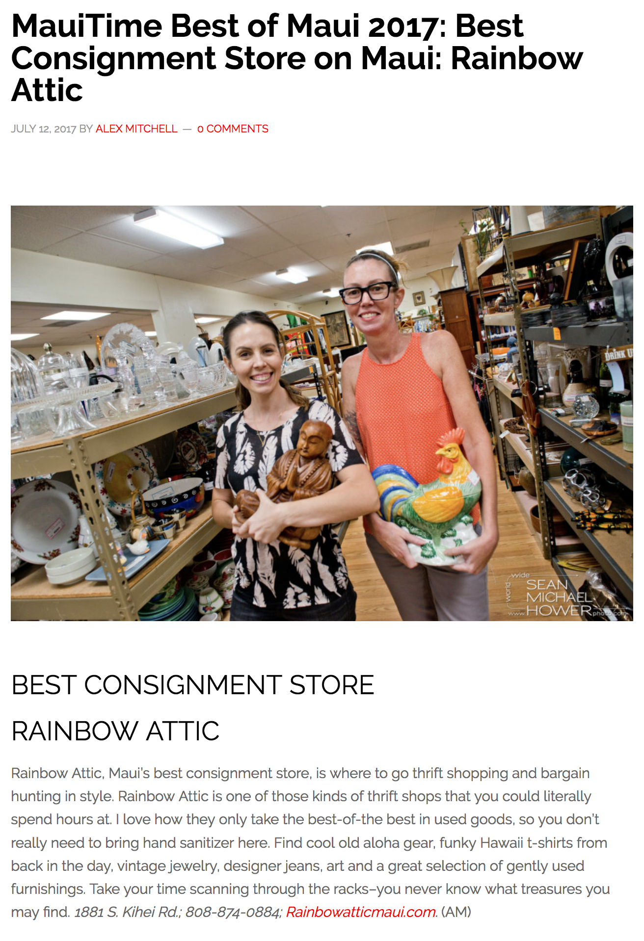 MauiTime Best of Maui 2017: Best Consignment Store on Maui: Rainbow Attic
