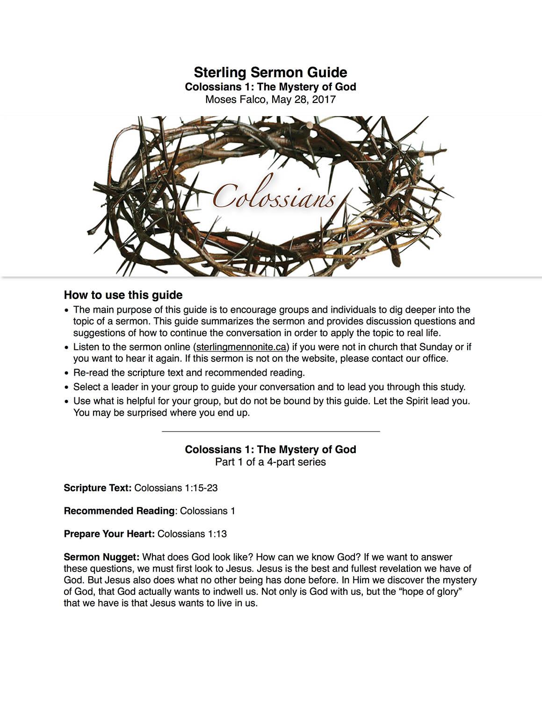 Colossians 1 - Sermon Guide