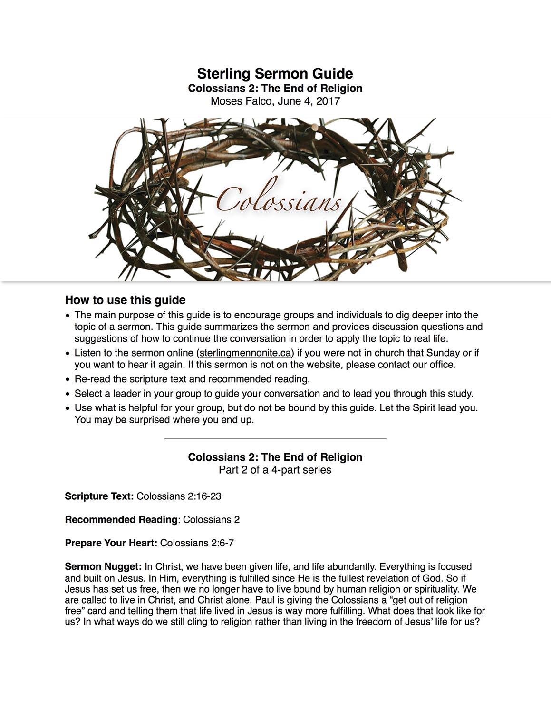 Colossians 2 - Sermon Guide
