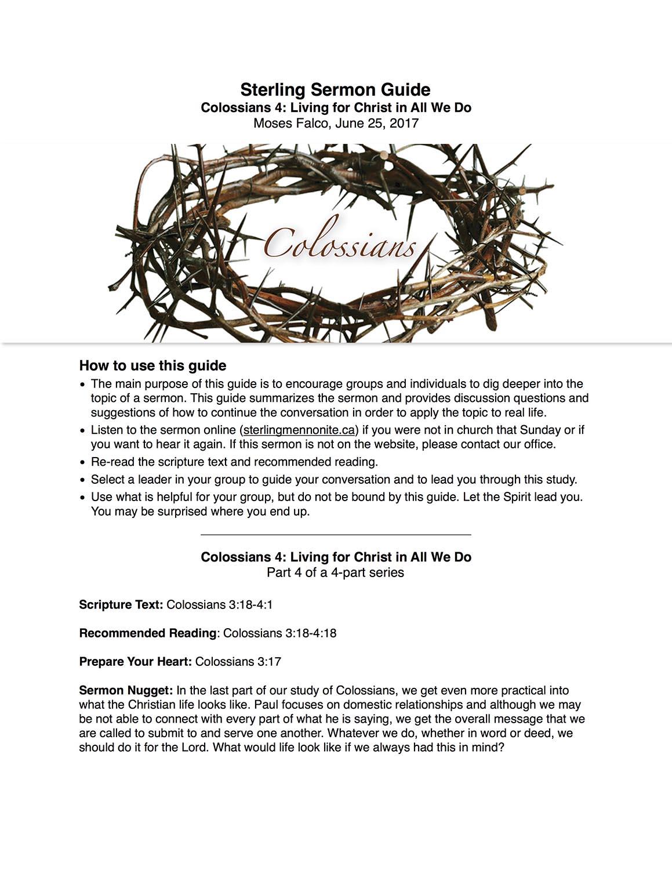 Colossians 4 - Sermon Guide