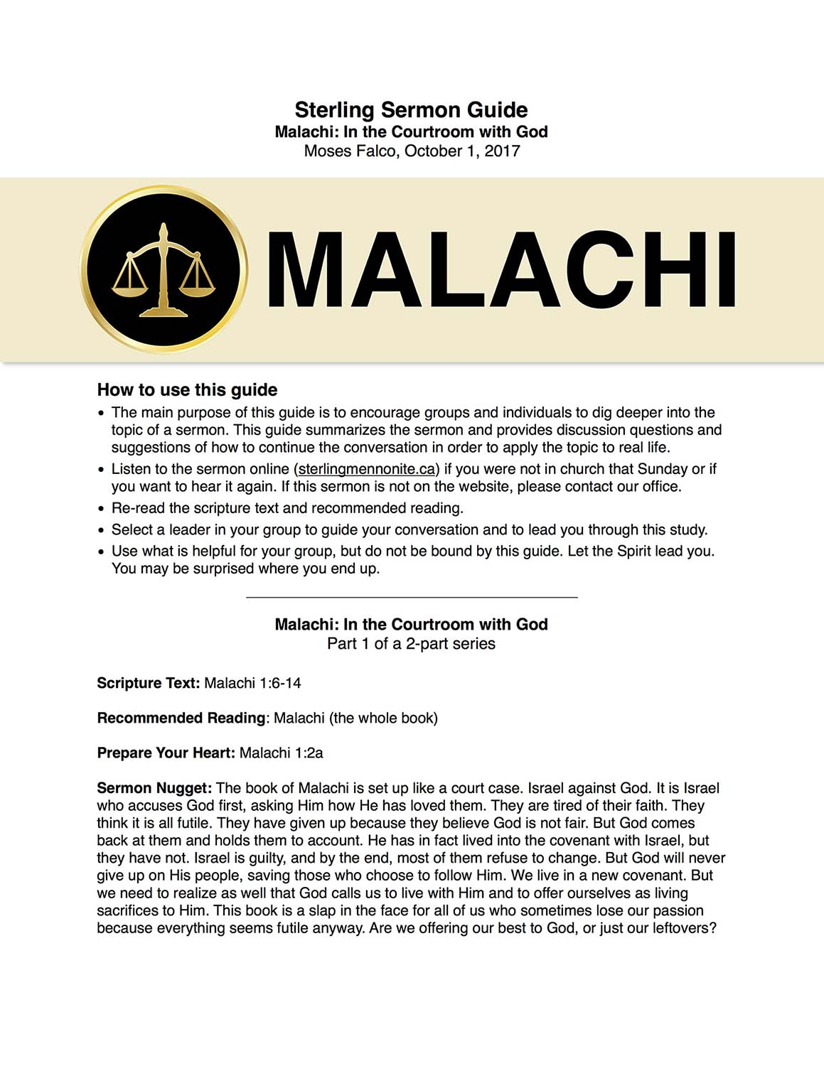 Malachi: In the Courtroom with God