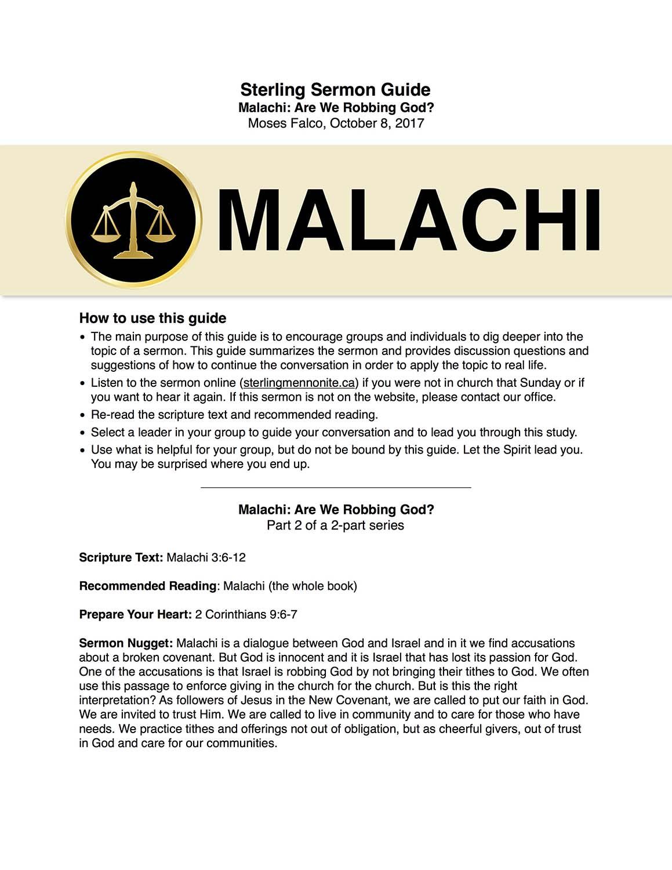 Malachi: Are we Robbing God?