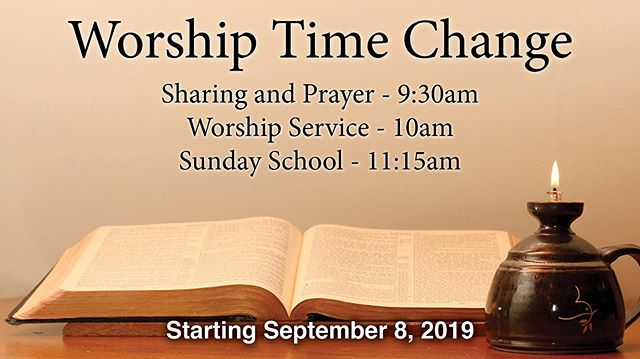 Hi friends. Summer is over which is sad. But with the fall comes a lot of new activity at church again. Sunday School is on. Remember that we are changing our worship times.