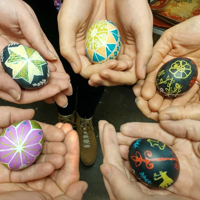My 2nd class of the weekend. My students were awesome. #pysanky