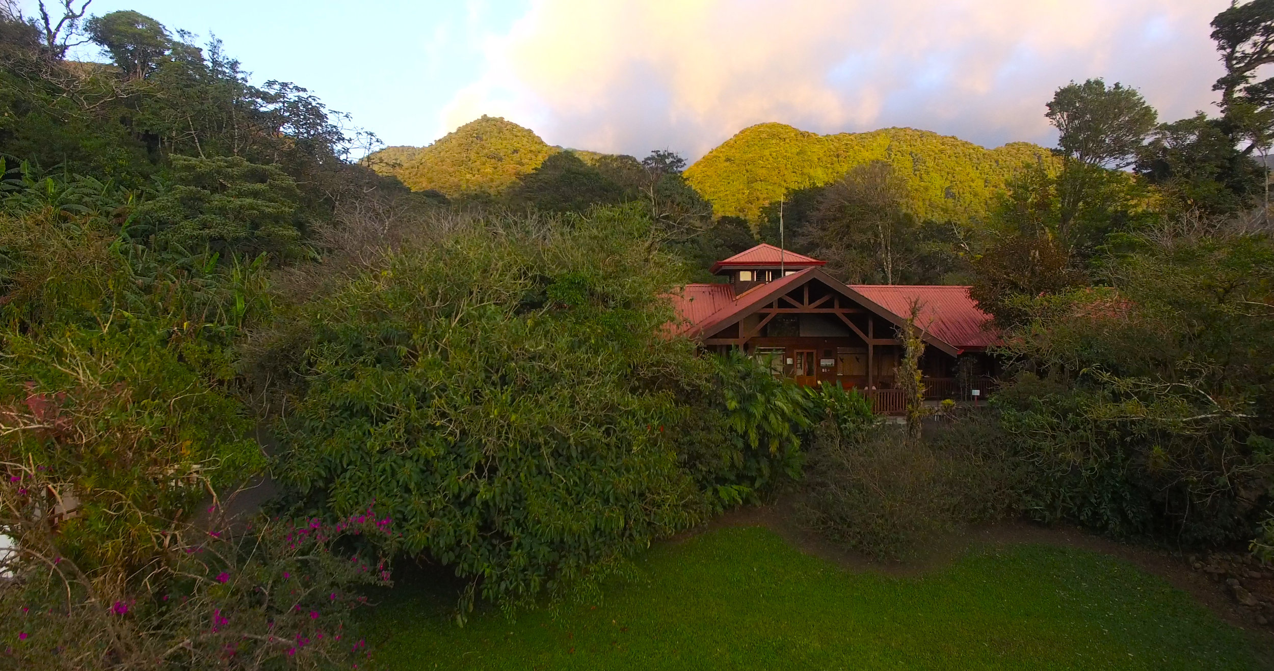 Student Union and Monteverde Cloud Forest Preserve in the background