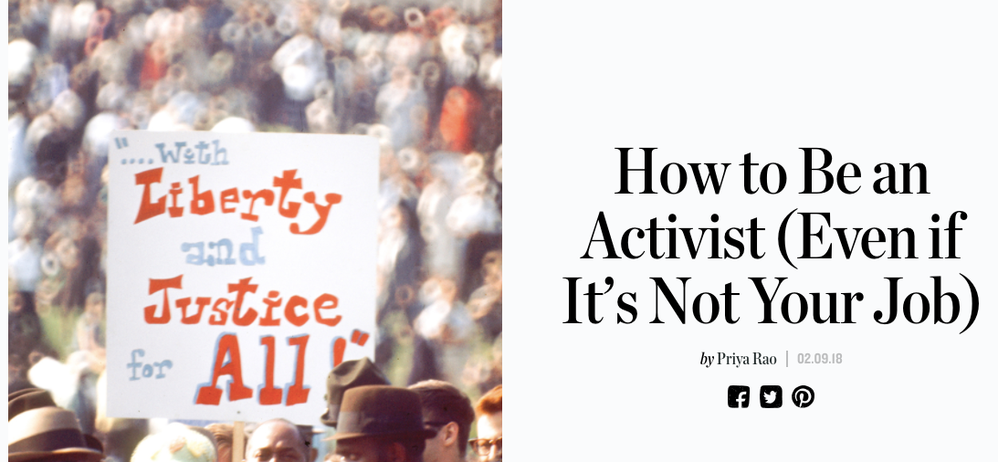 - Manrepeller: How to Be an Activist (Even if It's Not Your Job) 2.9.18