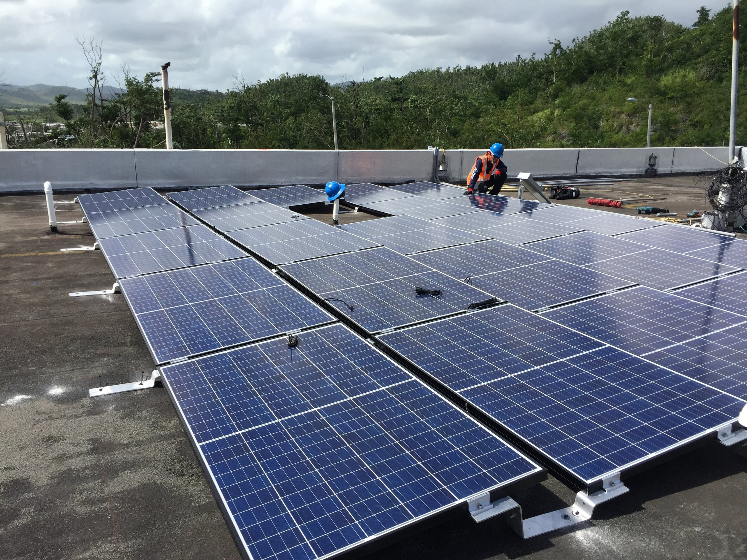 The solar array installed on the roof of the fire station in Naguabo, Puerto Rico.