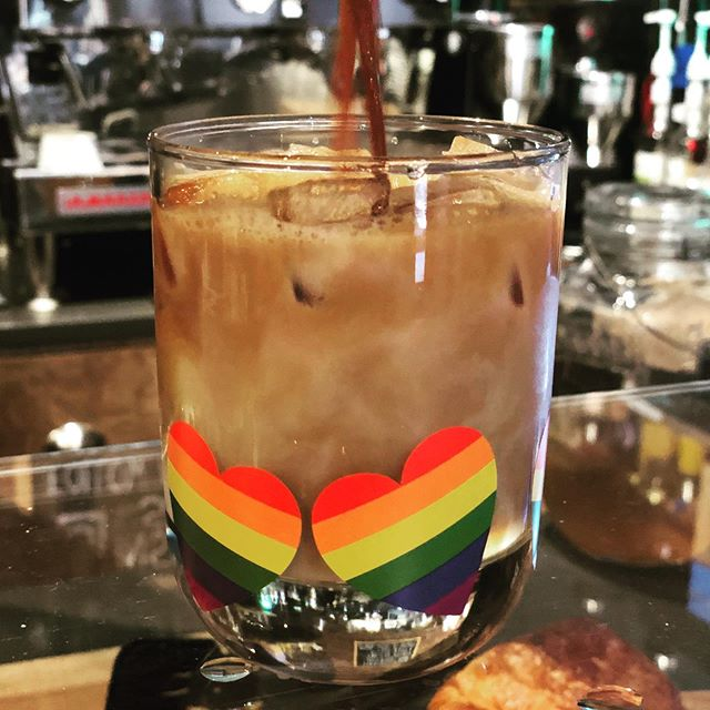 Take a break from the heat with your favorite iced coffee drink! Come in and enjoy some AC & Pride tunes all weekend! And don't forget to pick up a heart pride sticker.