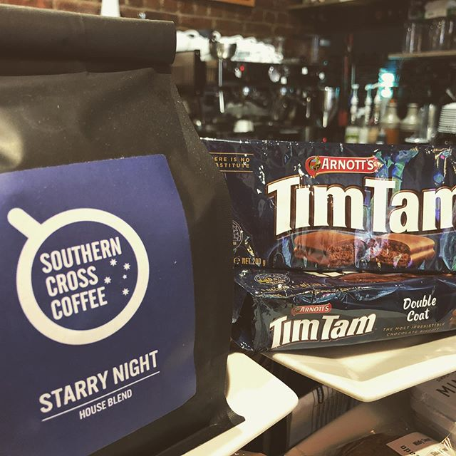Our custom blend Starry Night beans and a pack of TimTams.  What better way to start the weekend!