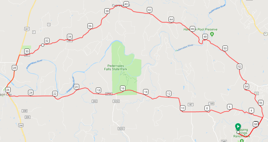 Day 2 Route, 58 miles