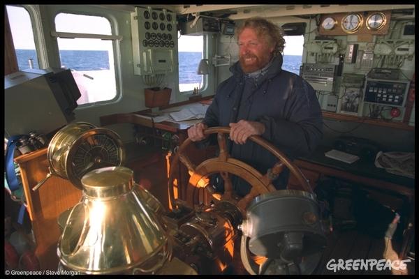 Captain Jon Castle onboard the MV Sirius, 1 May 1996