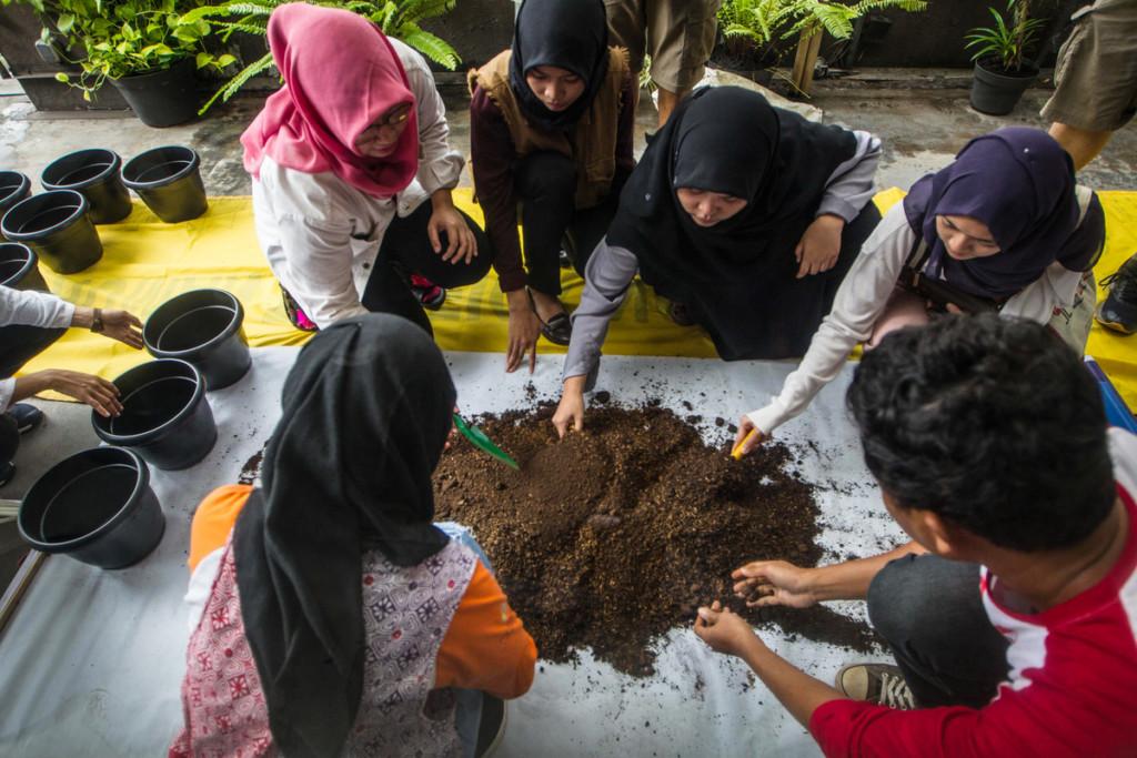 Urban Farming workshop in Jakarta as part of Make SMTHNG week © Afriadi Hikmal / Greenpeace