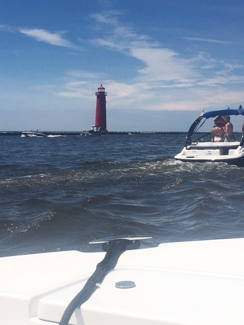 The next day, we went out on the boat on Lake Michigan with Derek's friends and it was such a beautiful day!