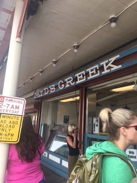 This was our first stop at Mr D's Greek Delicatessen! I saw lamb gyros on the menu (which I absolutely love) and so we stopped to get Pita Gyro's which are pita's filled with lamb,cabbage, onion, tomato, tzatziki sauce and hot sauce if you wish.
