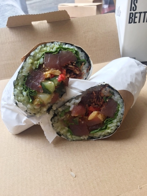 """We found the Sushirrito restaurant and I ordered the """"Geisha's Kiss"""", which has tuna, seaweed,cucumber, rice, avocado. cabbage, and egg in it."""