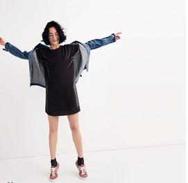 Madewell: Velvet Bow-Back Tee Dress - $150