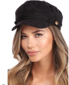 Windsor: Black Braided Cabby Hat - $14.90